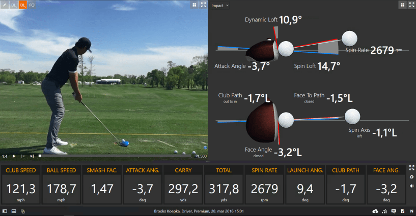 Brooks Koepka, winner of the US Open 2017 TrackMan Numbers Driver